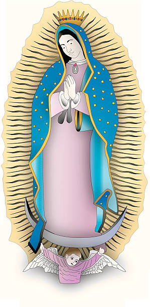 virgin mary guadalupe (vektor - jungfrau stock-grafiken, -clipart, -cartoons und -symbole