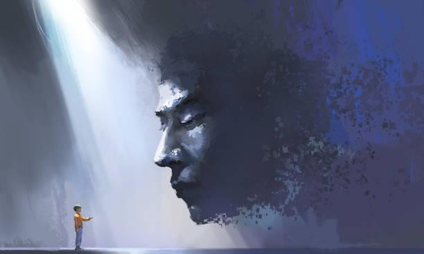 Virtuelle und realistische Kommunikation, futuristische Illustrationen, digitale Malerei. – Vektorgrafik