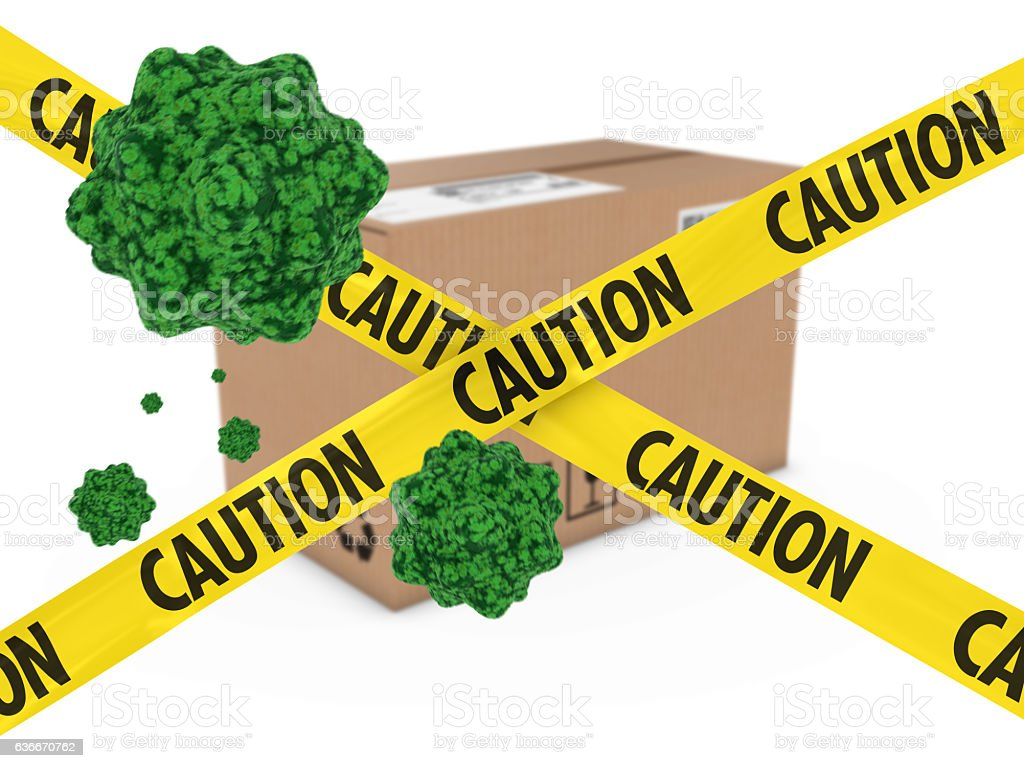 Virus Infected Package behind Caution Tape 3D Illustration vector art illustration