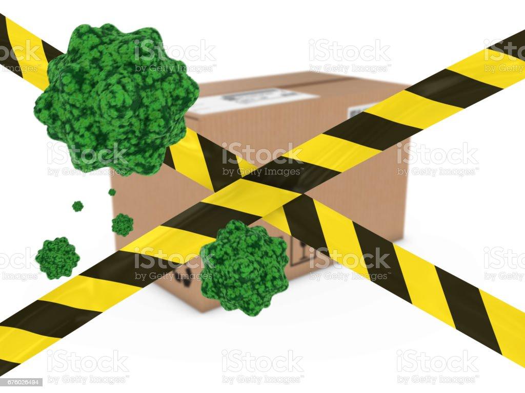Virus Infected Package behind Striped Hazard Tape 3D Illustration vector art illustration