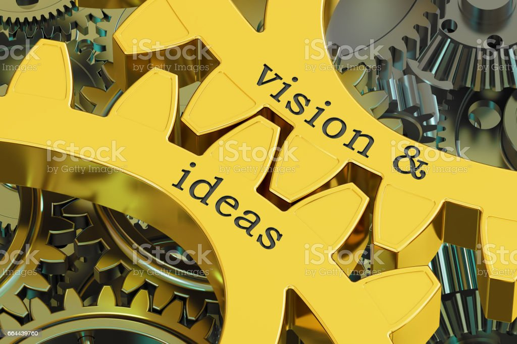 Vision & ideas concept on the gearwheels, 3D rendering vector art illustration