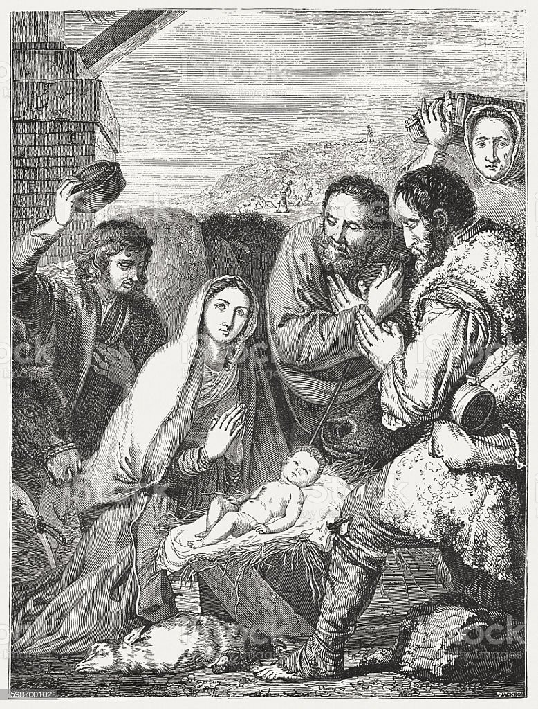 Visit of the shepherds, by Jusepe de Ribera, published 1855 vector art illustration