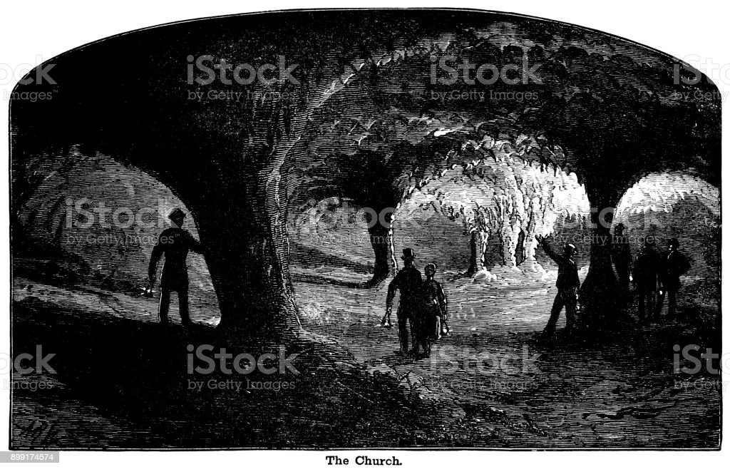 Visitors to 'The Church' inside the Mammoth Cave, Kentucky vector art illustration
