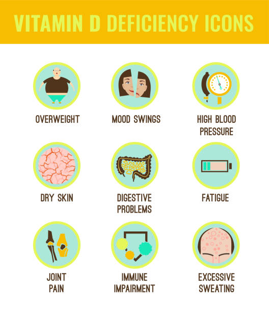vitamin d deficiency icons - vitamin d stock illustrations