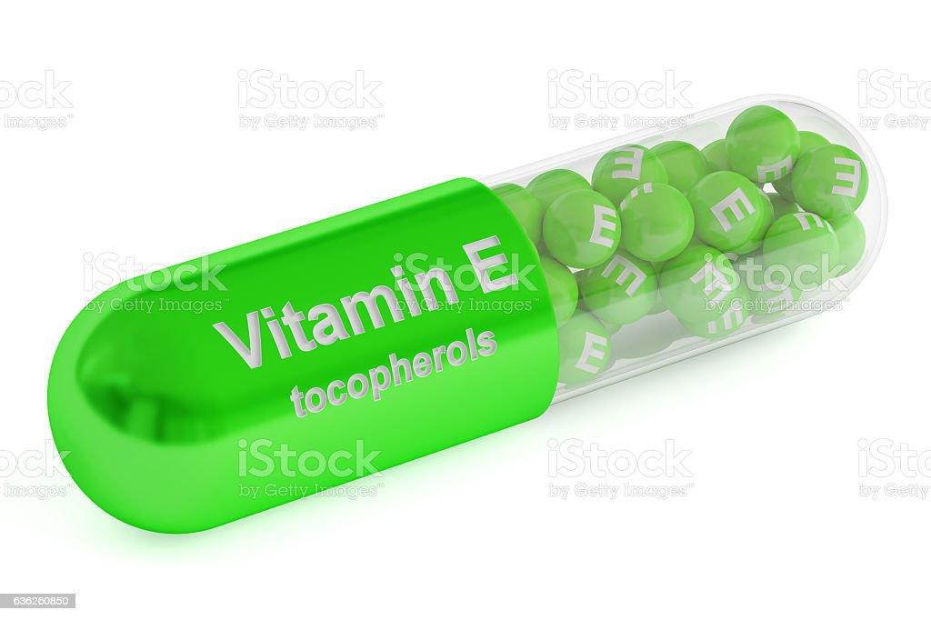 Vitamin E capsule, 3D rendering vector art illustration