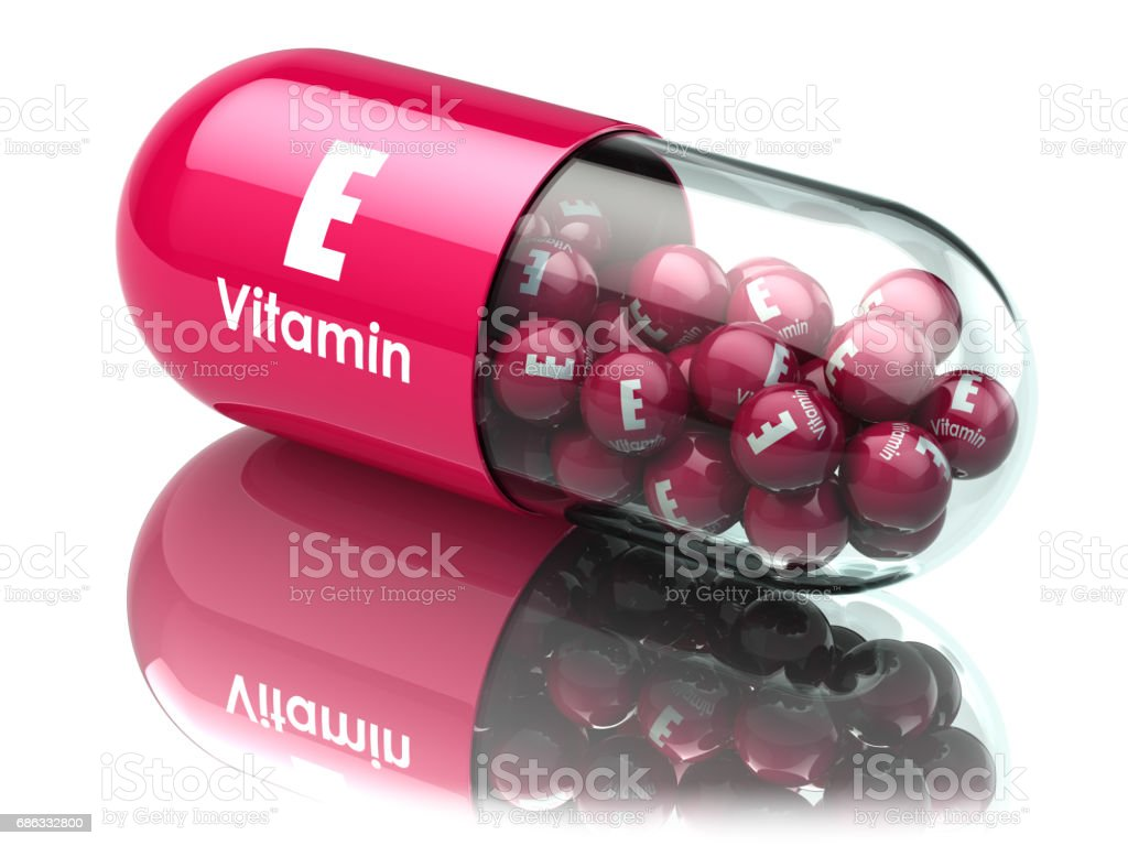 Vitamin E capsule or pill. Dietary supplements. vector art illustration