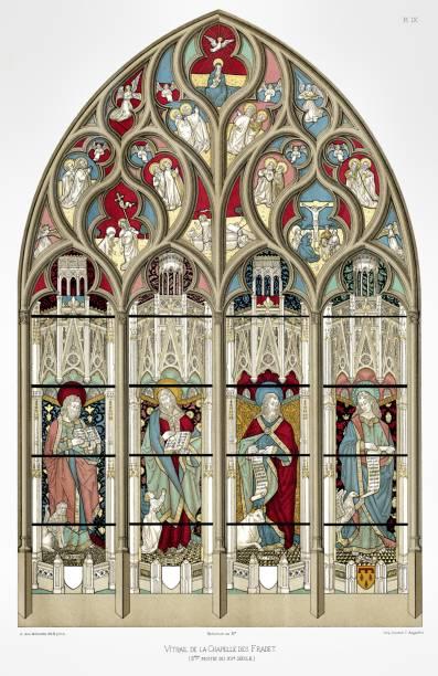 illustrazioni stock, clip art, cartoni animati e icone di tendenza di vitrail of fradet. from bourges cathedral stained glass 1891 - ferragosto