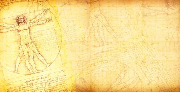 Vitruvian Man vector art on vintage style paper background