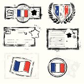 Stlyized traveling stamps of France
