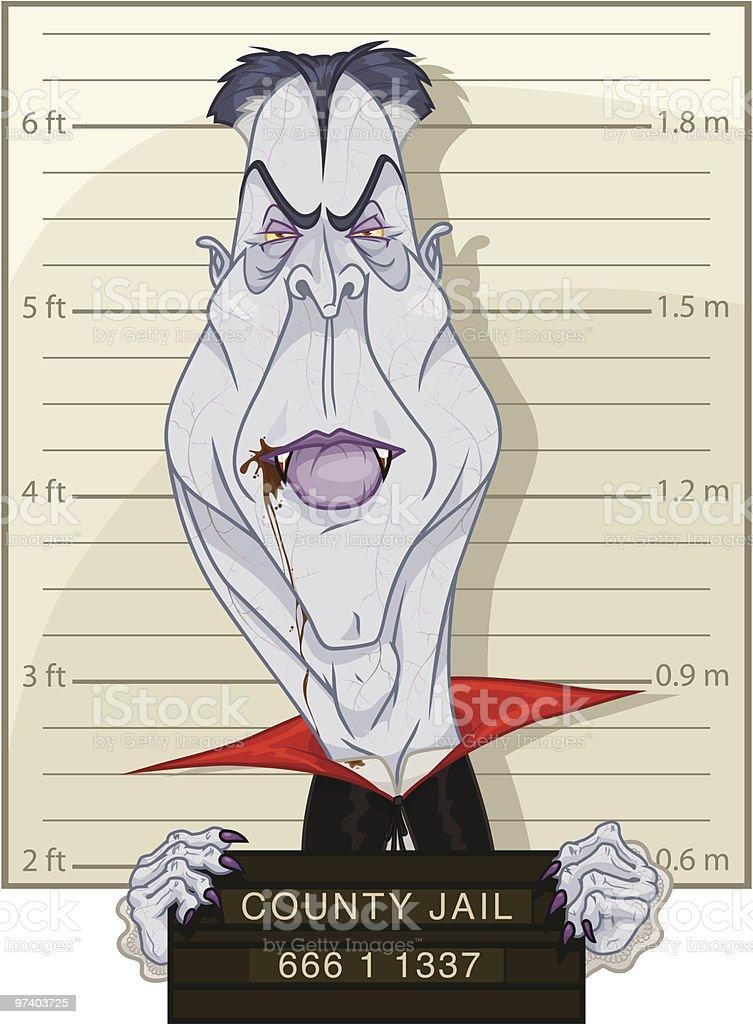 Vlad the Vampire Mug Shot royalty-free stock vector art