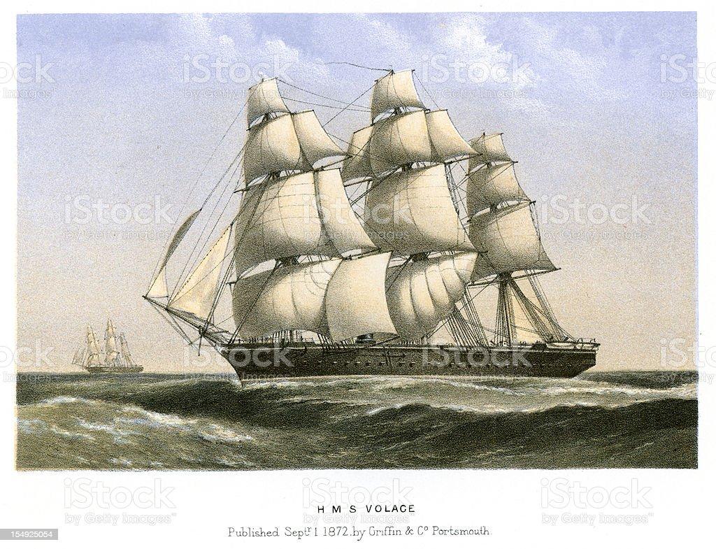 HMS Volage vector art illustration