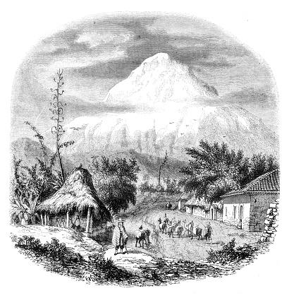 Volcano Chimborazo seen from Rio-Bamba in 1850