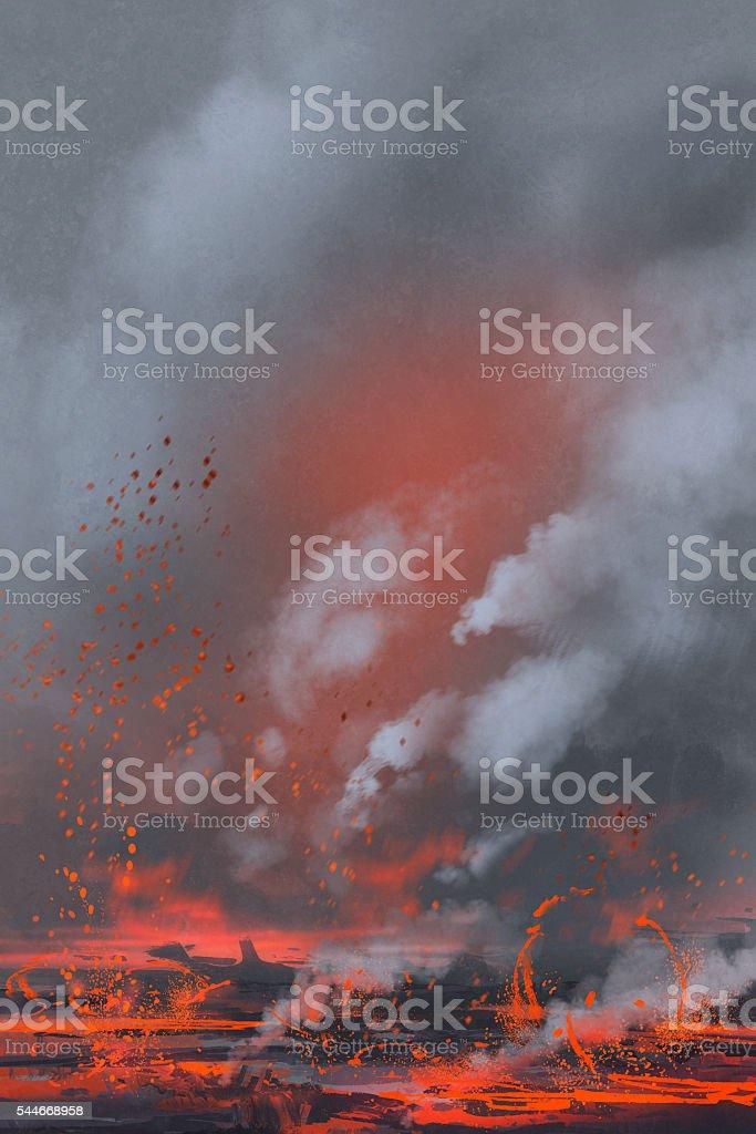 Eruption Du Volcan Et Lac De Lave Peinture Vecteurs Libres De Droits Et Plus D Images Vectorielles De Aquarelle Istock