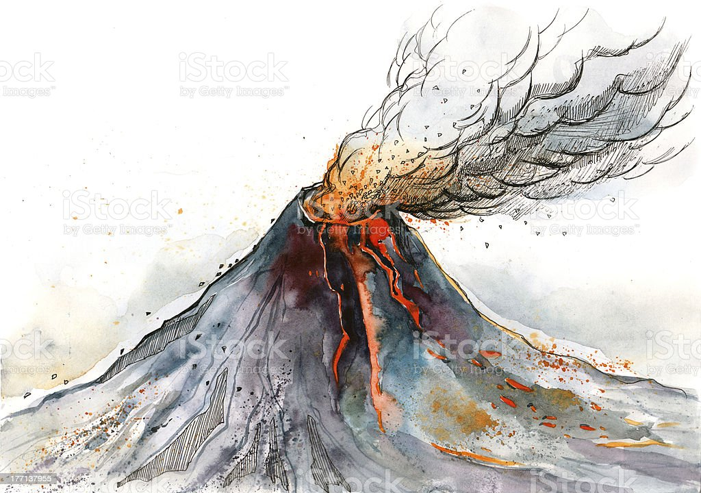 volcano vector art illustration