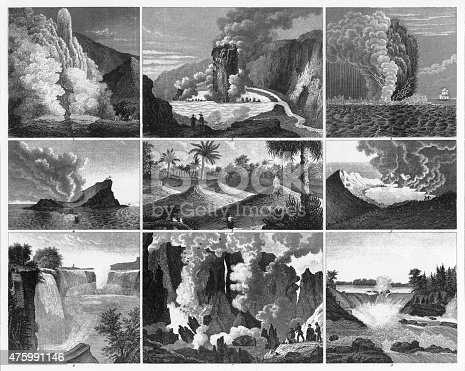 Engraved Illustrations of Forests, Lakes, Caves and Unusual Rock Formations from Iconographic Encyclopedia of Science, Literature and Art, Published in 1851. Copyright has expired on this artwork. Digitally restored.