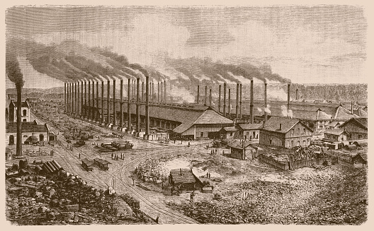 Illustration of Volklinger Hutte ironworks. 19th century engraving of part of the Voelklinger Huette ironworks, Volklingen, Germany. These ironworks opened in 1873. The site is now a UNESCO World Heritage site