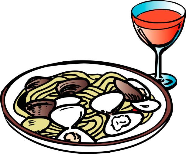 bildbanksillustrationer, clip art samt tecknat material och ikoner med vongole - pasta vongole