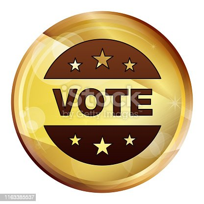 Vote badge icon isolated on Abstract Brown Round Button
