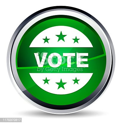 Vote badge icon isolated on Aqua Green Round Button