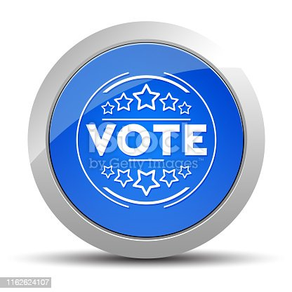 Vote badge icon isolated on blue round button illustration