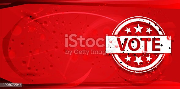 Vote badge icon isolated on digital geometric design red banner illustration