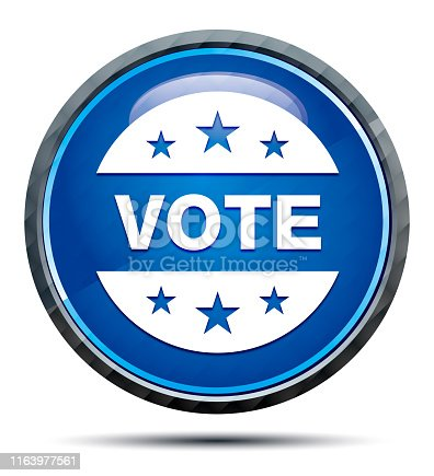 Vote badge icon isolated on Exclusive Blue Round Button