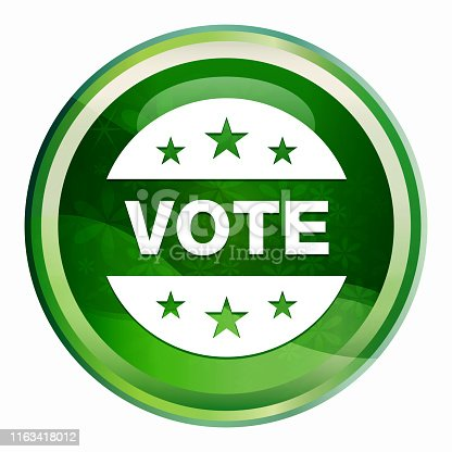 Vote badge icon isolated on Natural Green Round Button