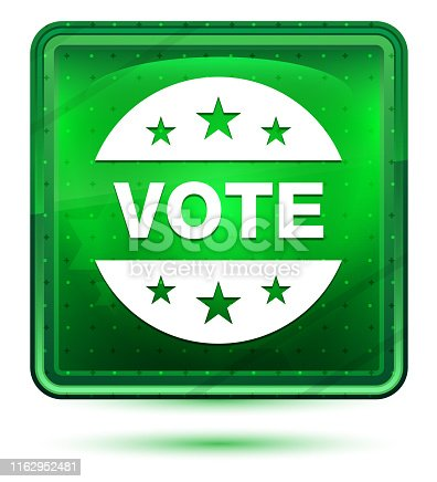 Vote badge icon isolated on neon light green square button