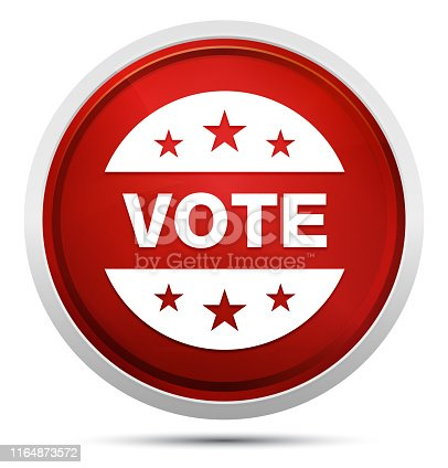 Vote badge icon isolated on Promo Red Round Button