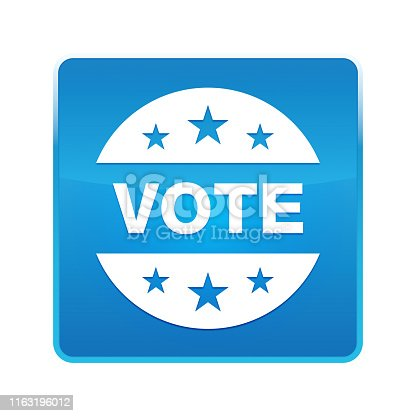 Vote badge icon isolated on shiny blue square button