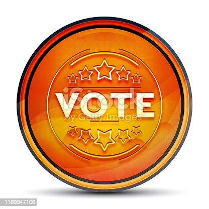 Vote badge icon isolated on shiny bright orange round button illustration