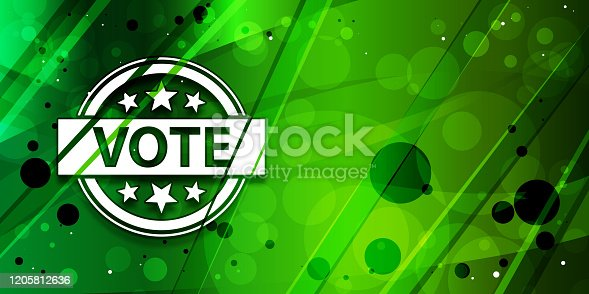 Vote badge icon isolated on trendy abstract galaxy green banner illustration