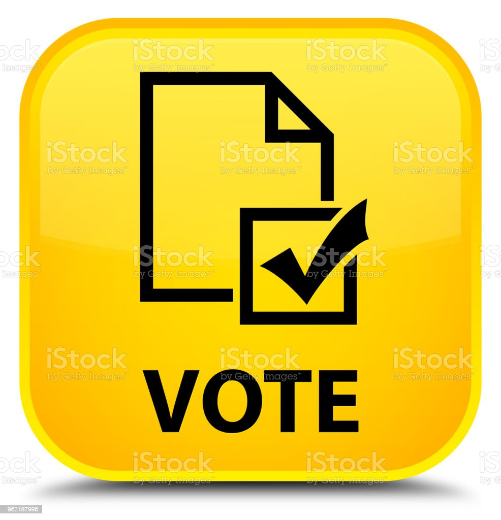 Vote (survey icon) special yellow square button vector art illustration
