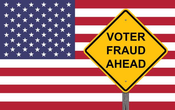 Voter Fraud Warning Sign Voter Fraud Ahead Caution Sign Flag Background voter fraud stock illustrations