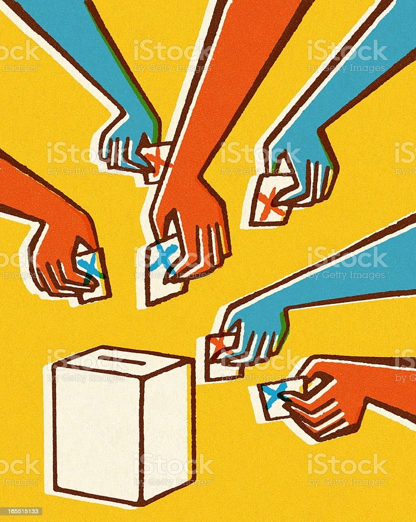 Voting Hands and Ballot Box vector art illustration