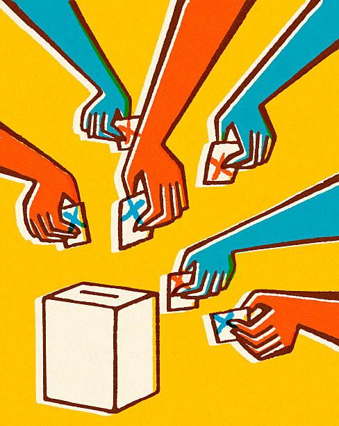stockillustraties, clipart, cartoons en iconen met voting hands and ballot box - vote