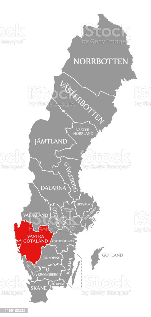 Vastra Gotalands Red Highlighted In Map Of Sweden Stock Illustration Download Image Now Istock