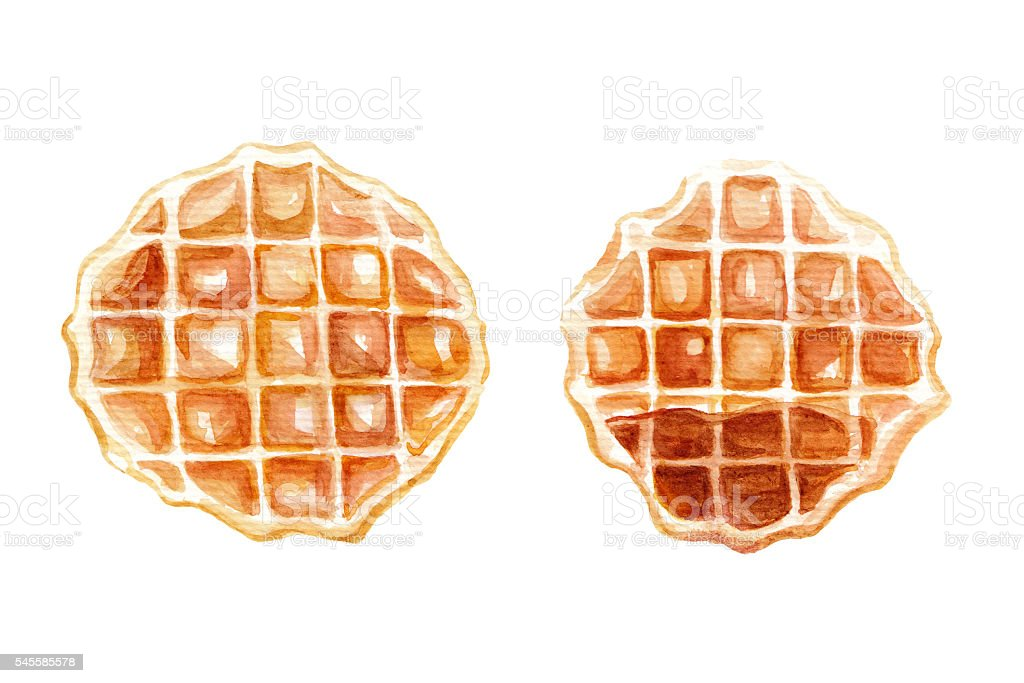 Waffles - Watercolour illustration vector art illustration