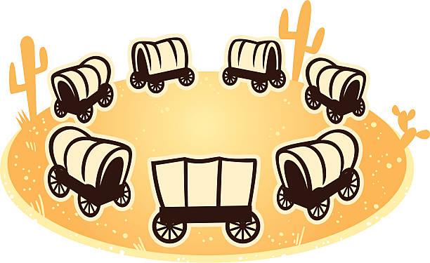 wagon circle vector art illustration