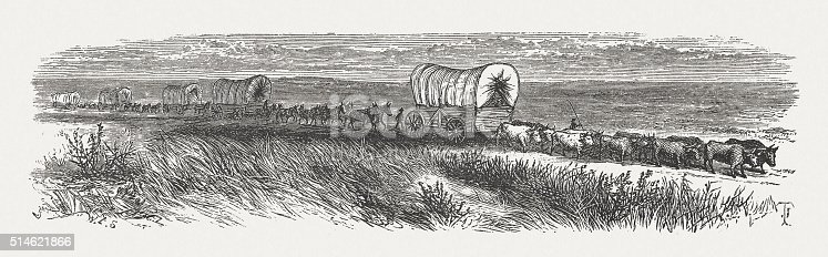 Wagon Train of American Settlers. Historical view of the 19th century. Wood engraving, published in 1880.