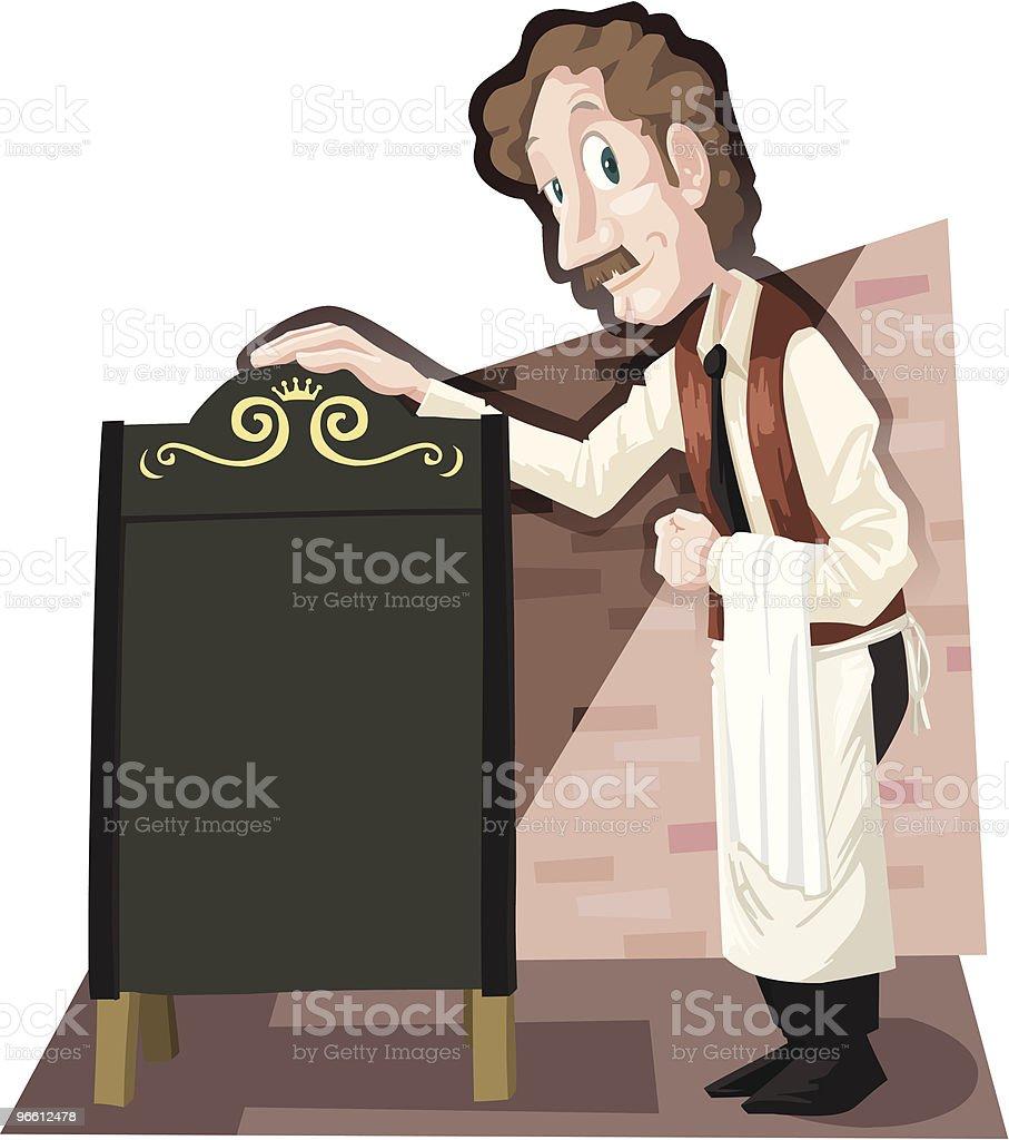 Waiter at the menu board - Royaltyfri Alternativ vektorgrafik