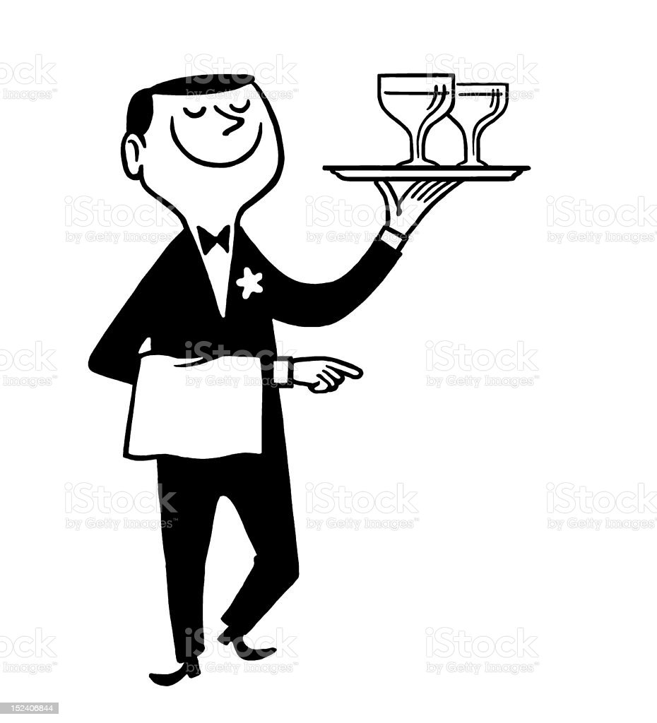 Waiter Carrying Drinks vector art illustration