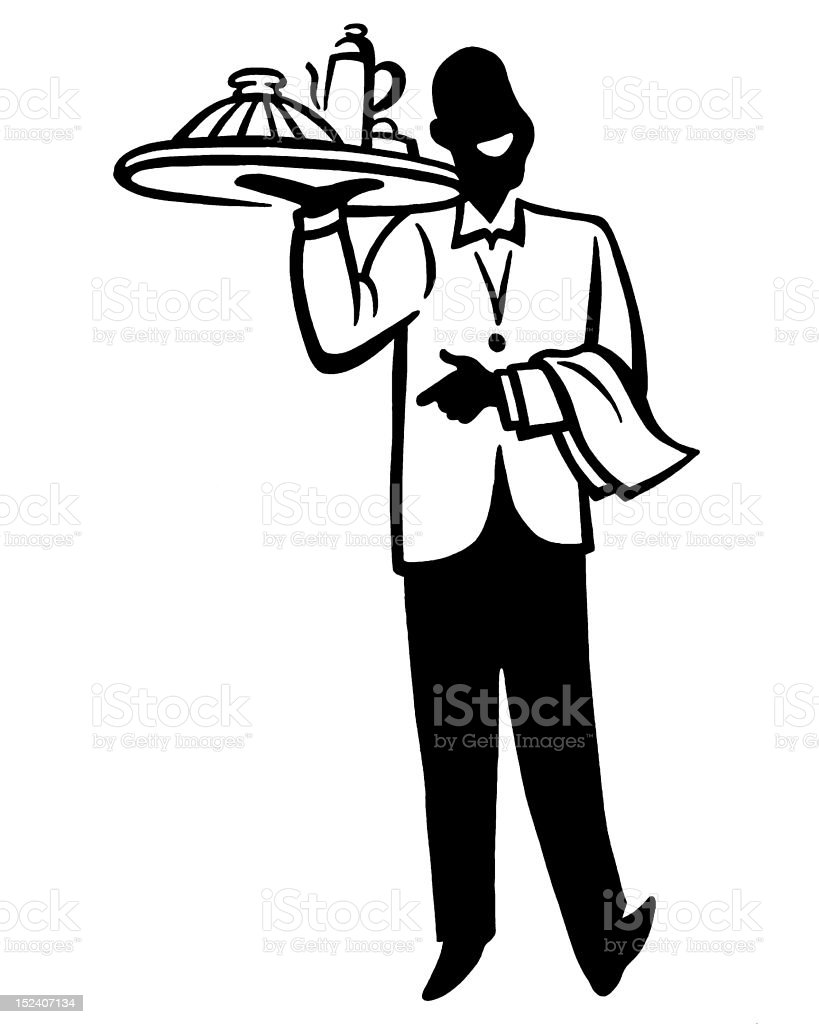 Waiter Carrying Tray of Food vector art illustration