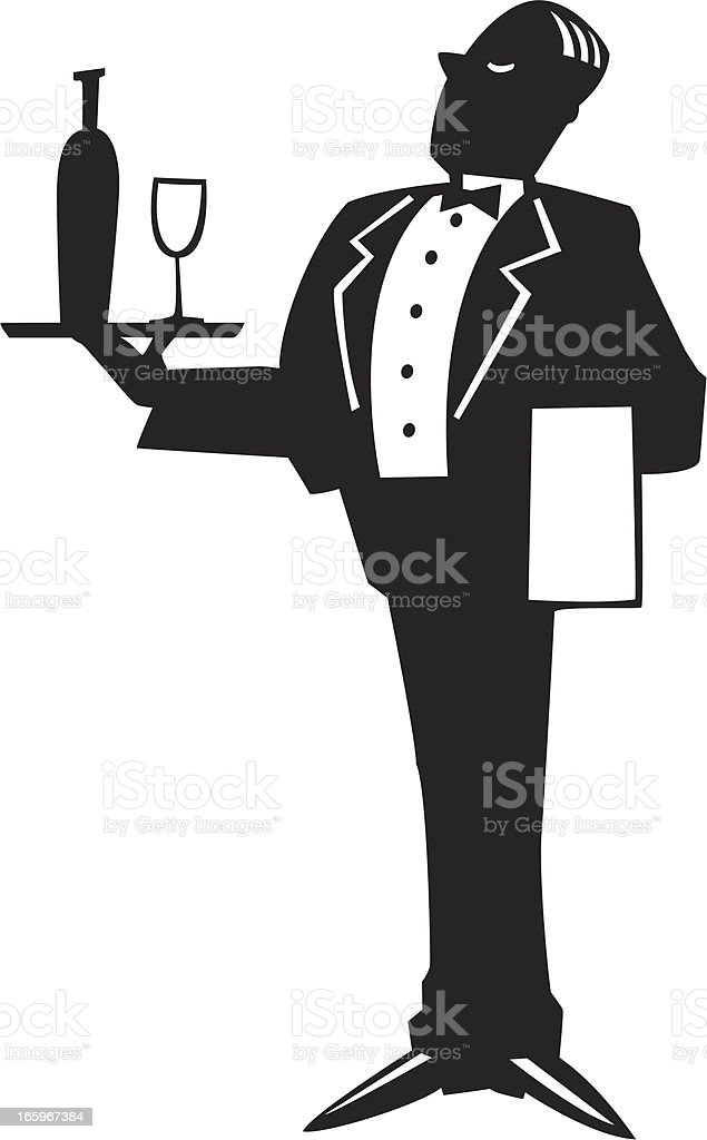waiter graphic vector art illustration