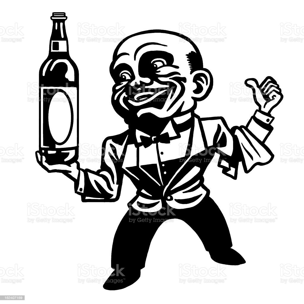 Waiter Holding Bottle of Liquor royalty-free stock vector art