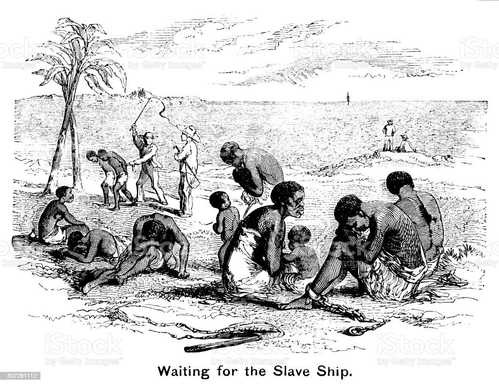 Waiting for the slave ship vector art illustration