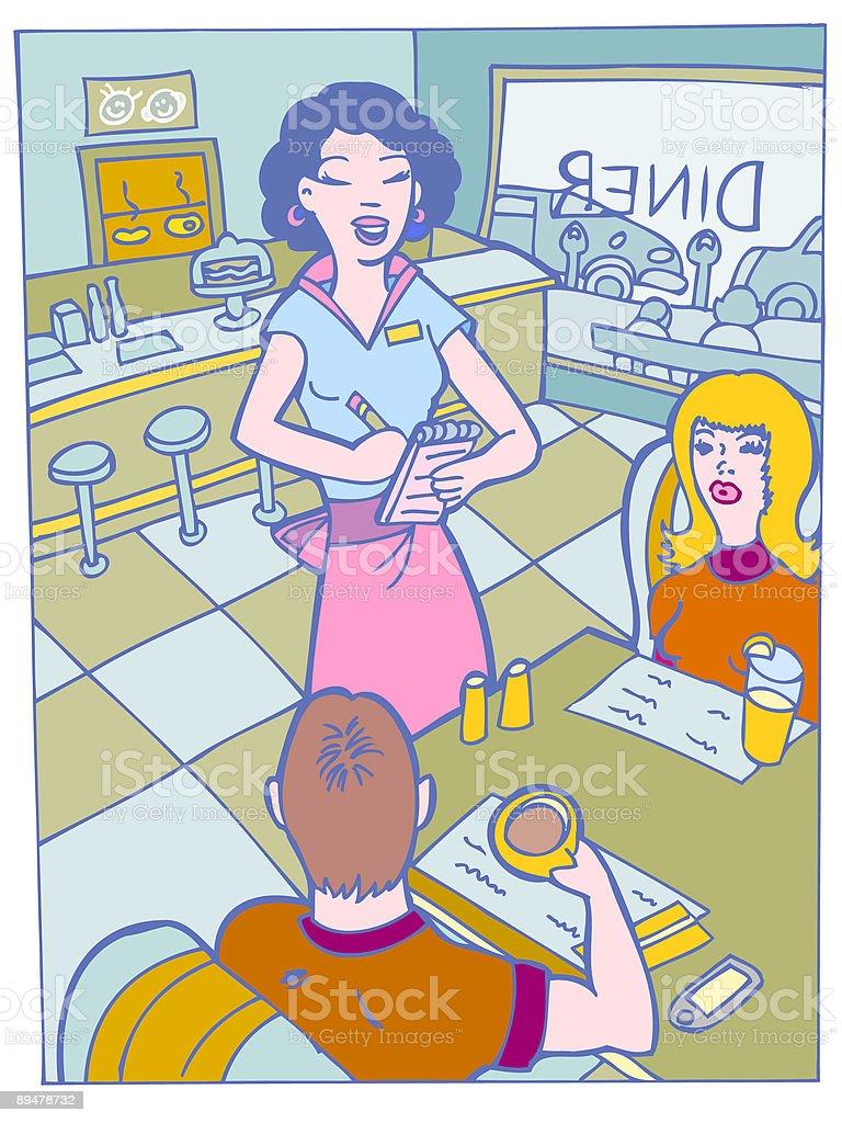Camarera en un restaurante - ilustración de arte vectorial