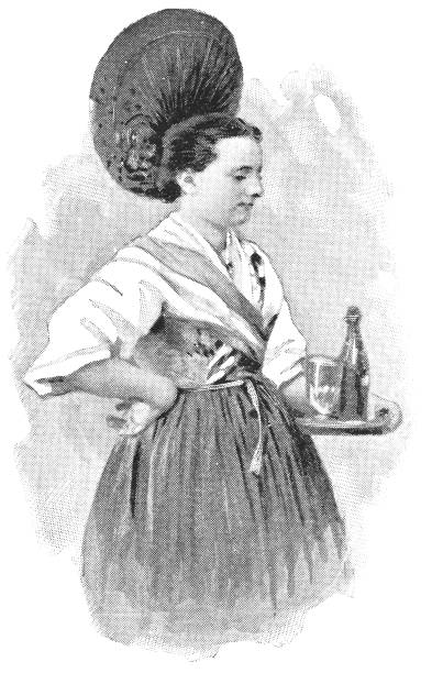illustrazioni stock, clip art, cartoni animati e icone di tendenza di waitress in lausanne, switzerland - 19th century - portrait of waiter and waitress holding a serving