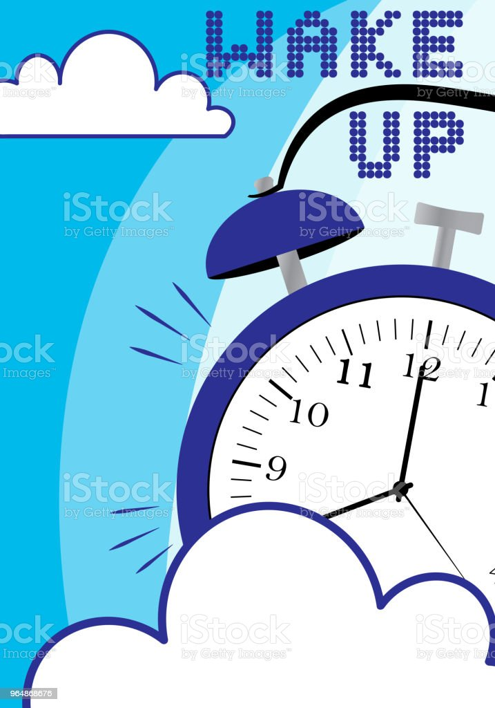 Wake up poster with alarm clock and clouds on blue background royalty-free wake up poster with alarm clock and clouds on blue background stock vector art & more images of alarm clock