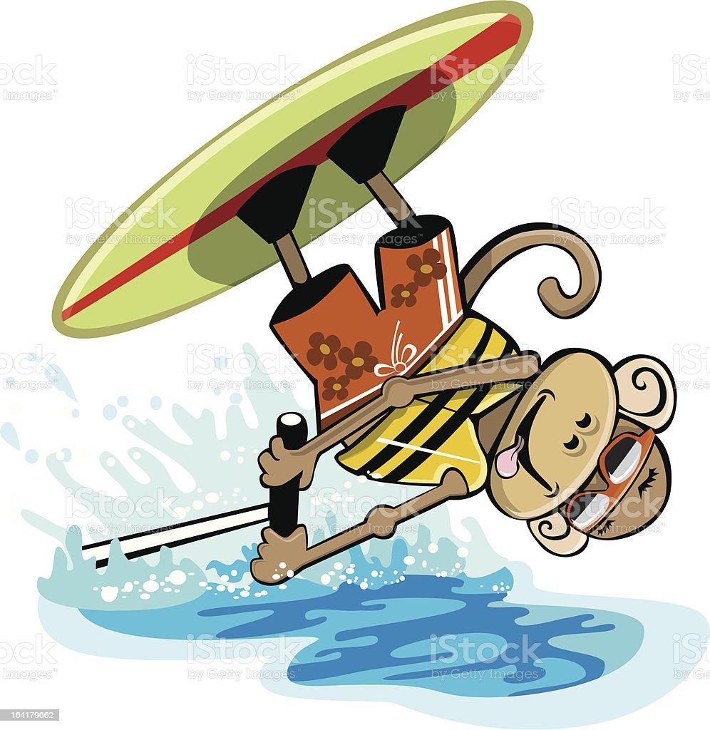 Wakeboarding Monkey vector art illustration